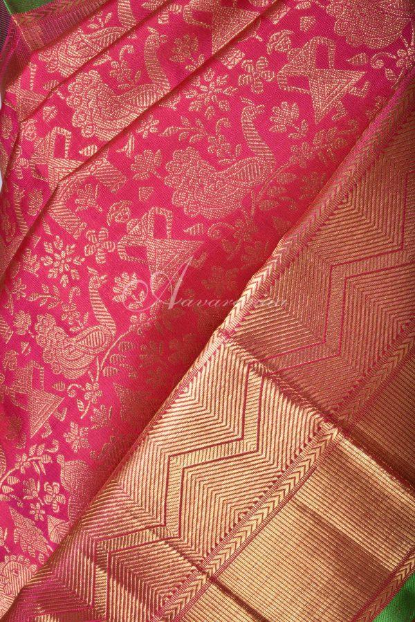 Dark peach vanarasingam kanchi silk saree-15849