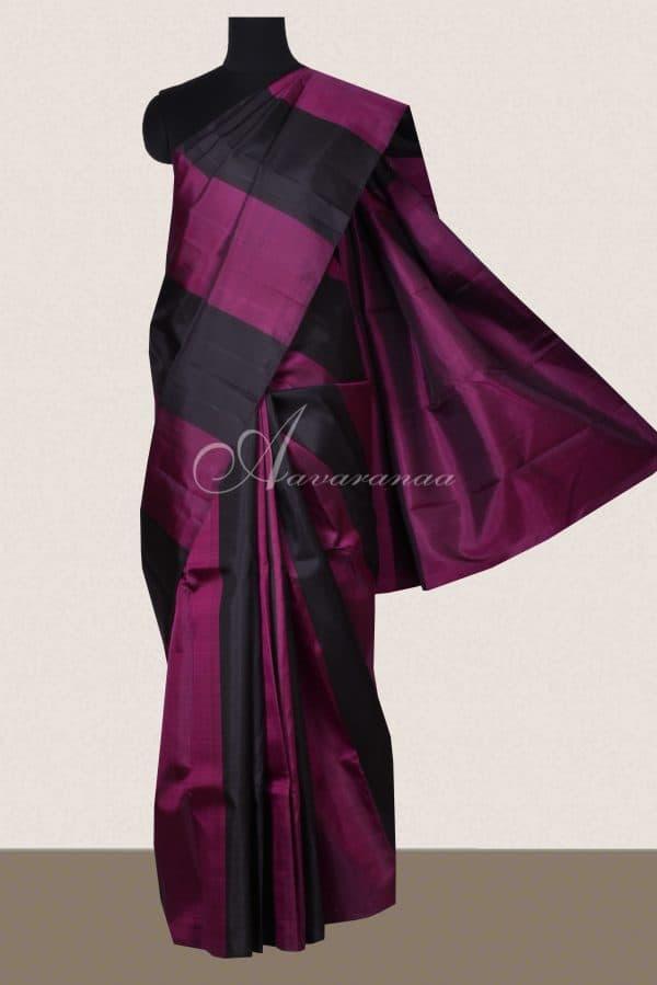 Black and pink stripes kanchi silk saree-0