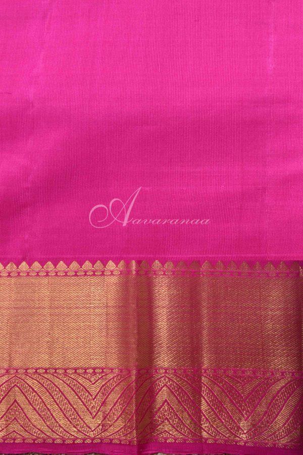Teal blue kancheepuram silk saree with pink zari border-15863