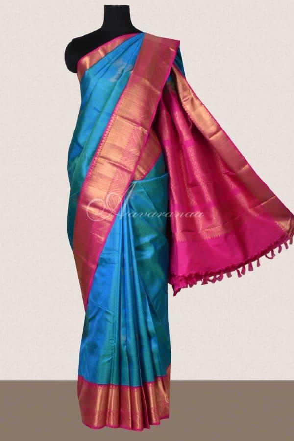 Teal blue kancheepuram silk saree with pink zari border-0