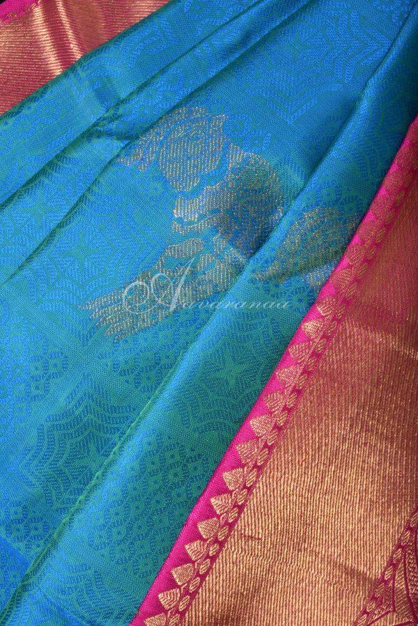 Teal blue kancheepuram silk saree with pink zari border-15864