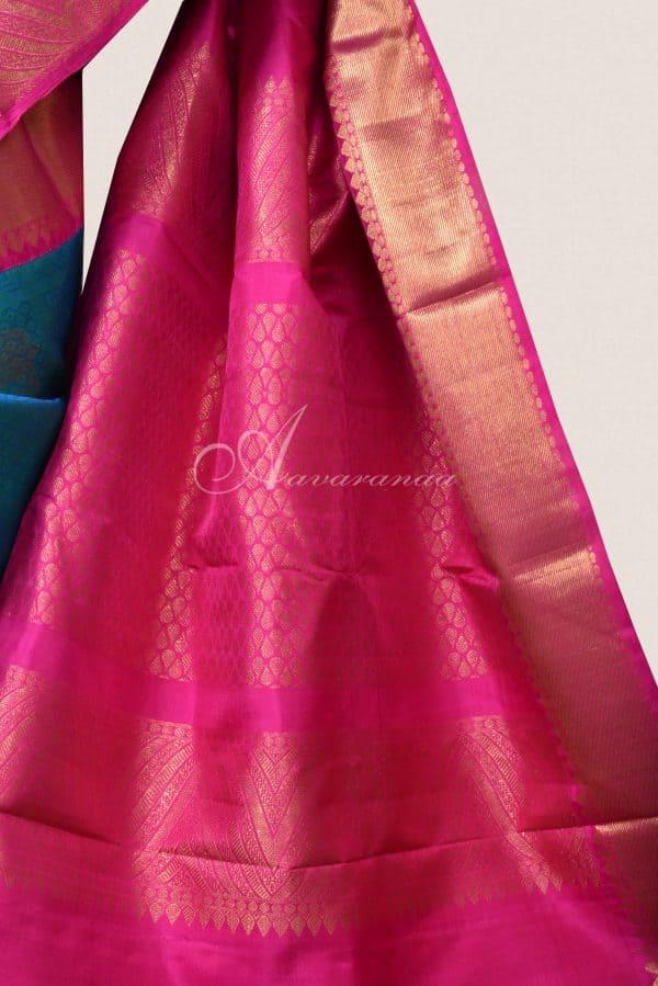 Teal blue kancheepuram silk saree with pink zari border-15861