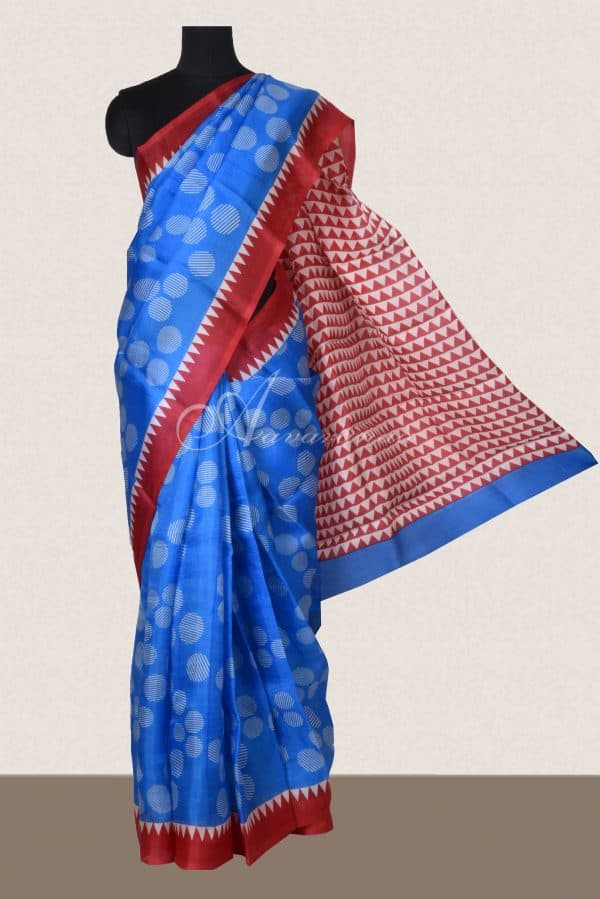 Blue red block print organza saree-0