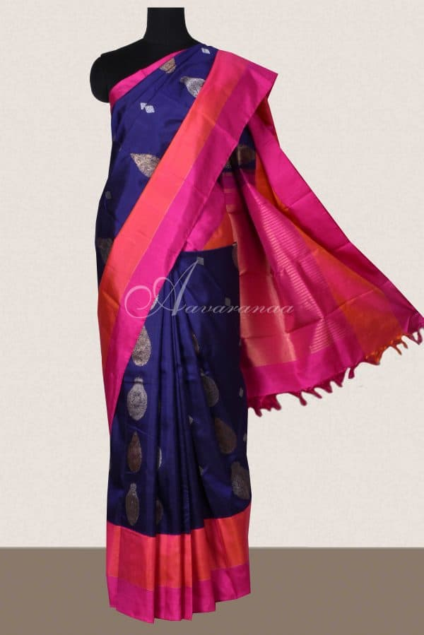 Navy blue kanchi silk saree with pink border-0