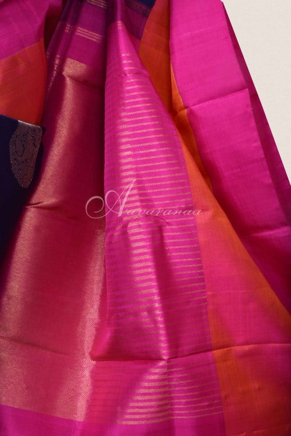 Navy blue kanchi silk saree with pink border-15894