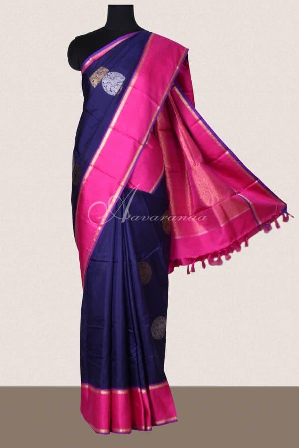 Navy kancheepuram silk saree with pink border-0