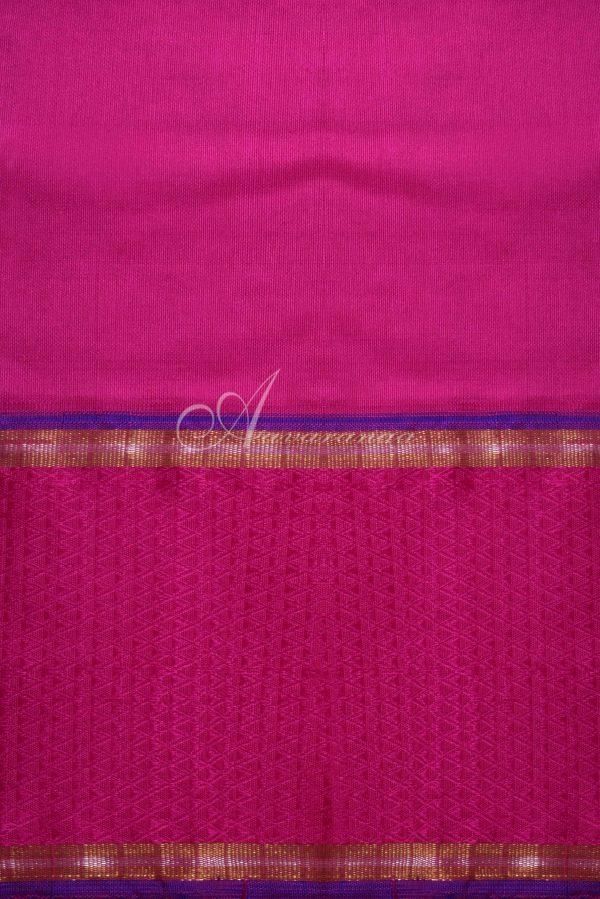 Navy kancheepuram silk saree with pink border-15938