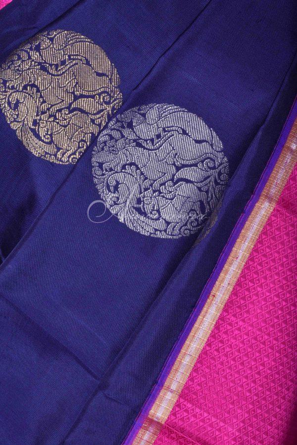 Navy kancheepuram silk saree with pink border-15935