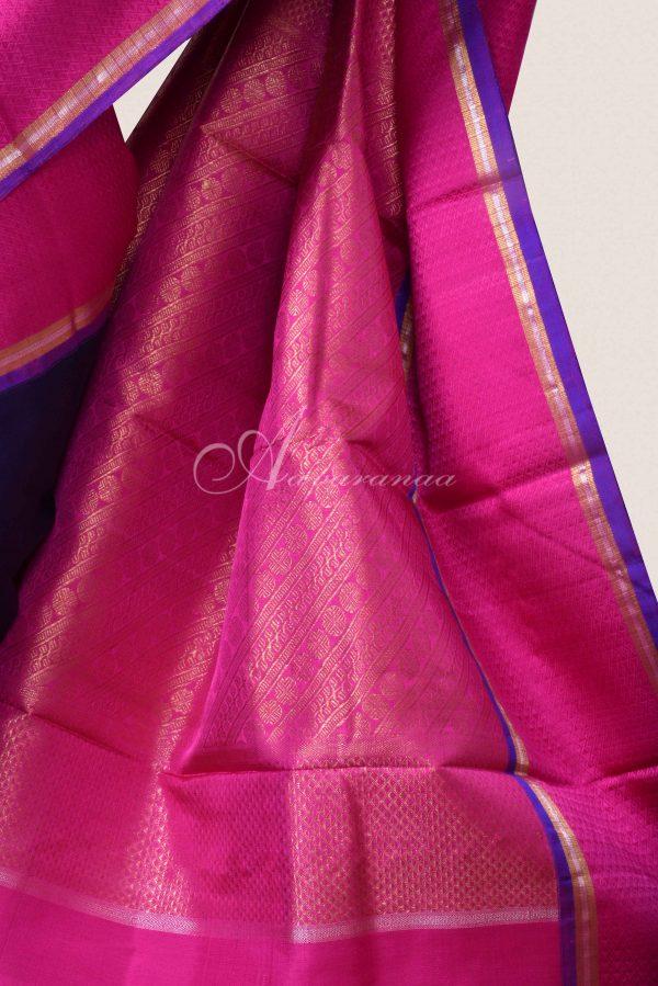 Navy kancheepuram silk saree with pink border-15937