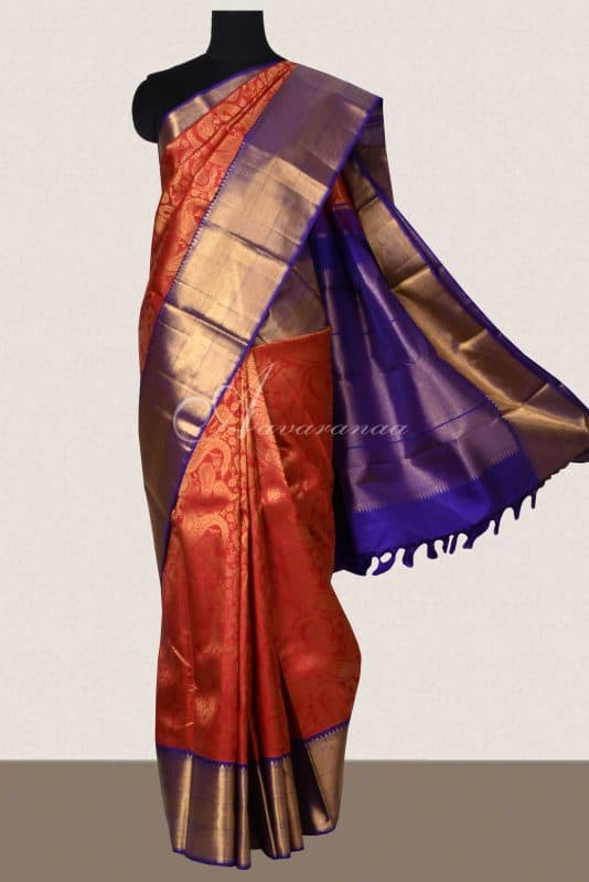 Red kancheepuram brocade silk saree with purple border-0