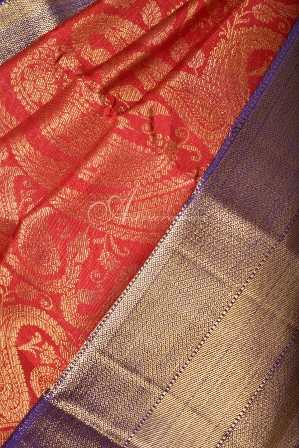 Red kancheepuram brocade silk saree with purple border-15964