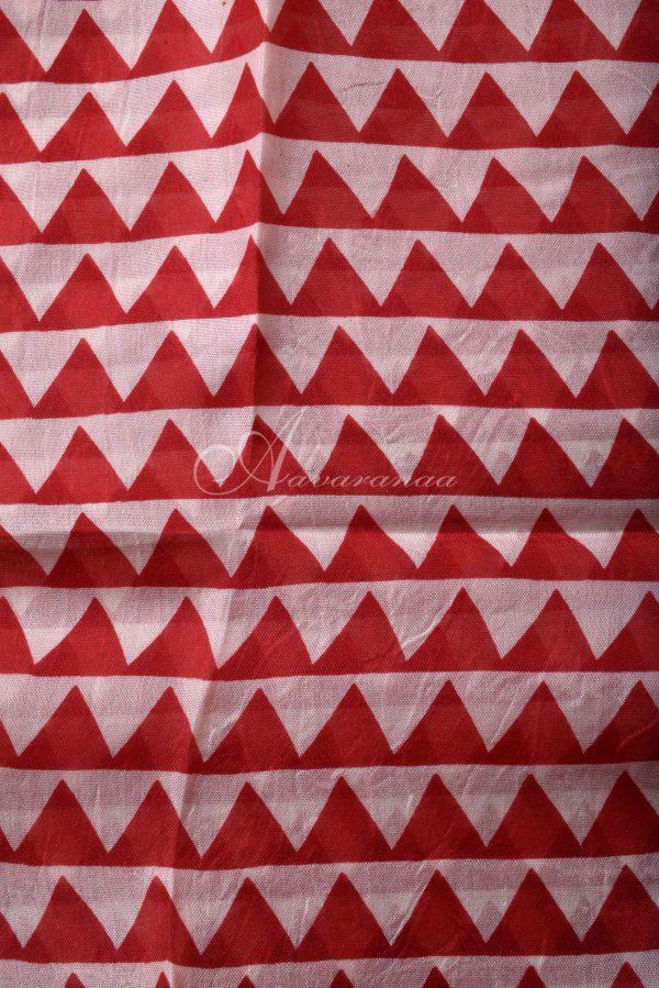 Blue red block print organza saree-15587