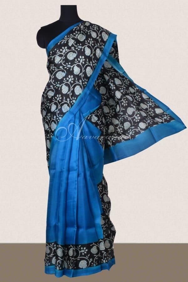 Blue black block print organza saree-0