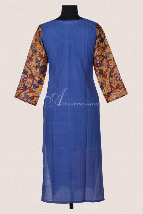 Blue rust cotton colour block kurta-15722