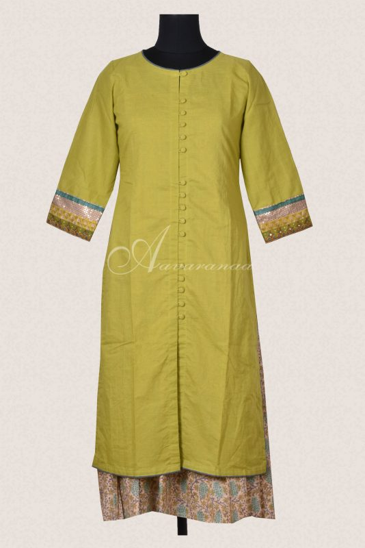 Green cotton layered kurta-0
