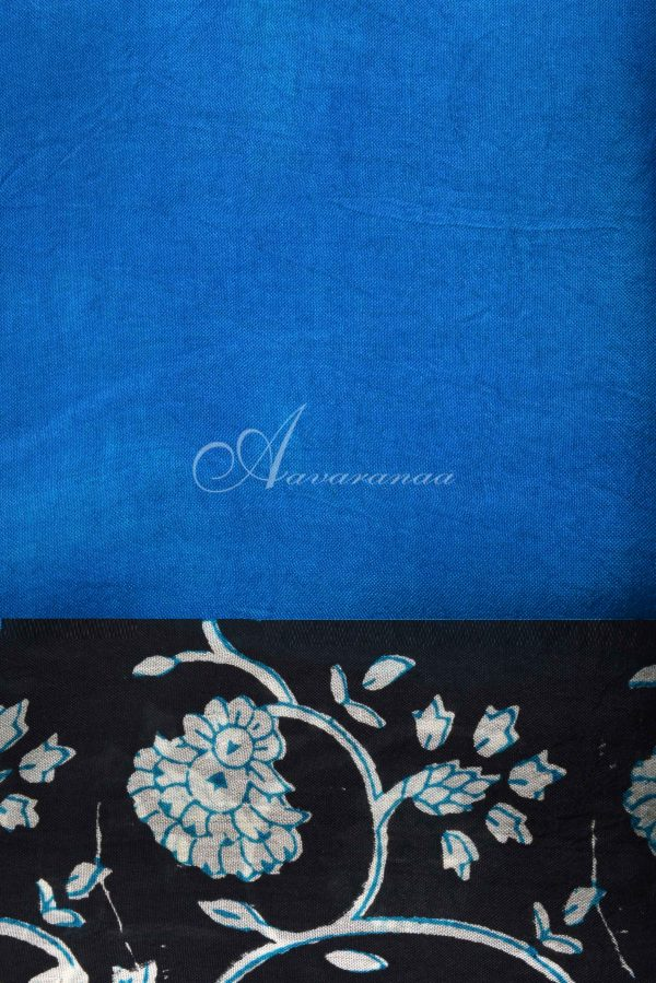 Blue black block print organza saree-15588