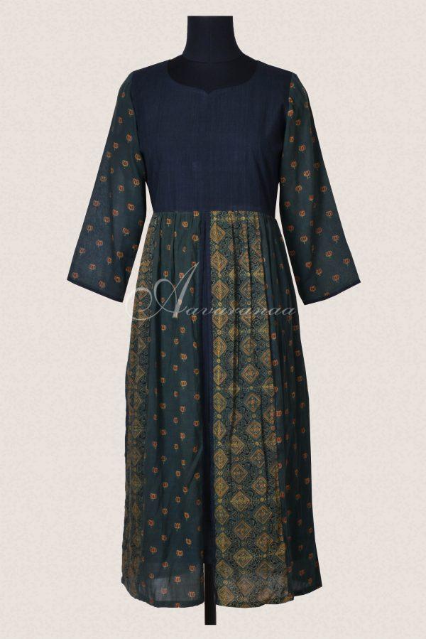 Green ajrakh cotton layered tunic-0