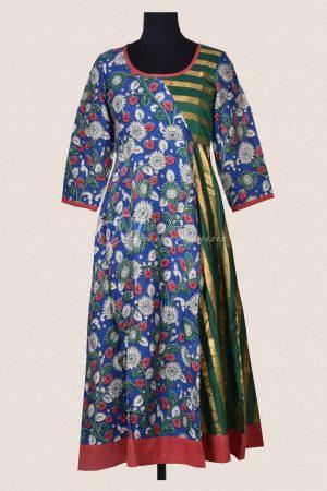 Blue kalamkari silk green stripes flared kurta-0