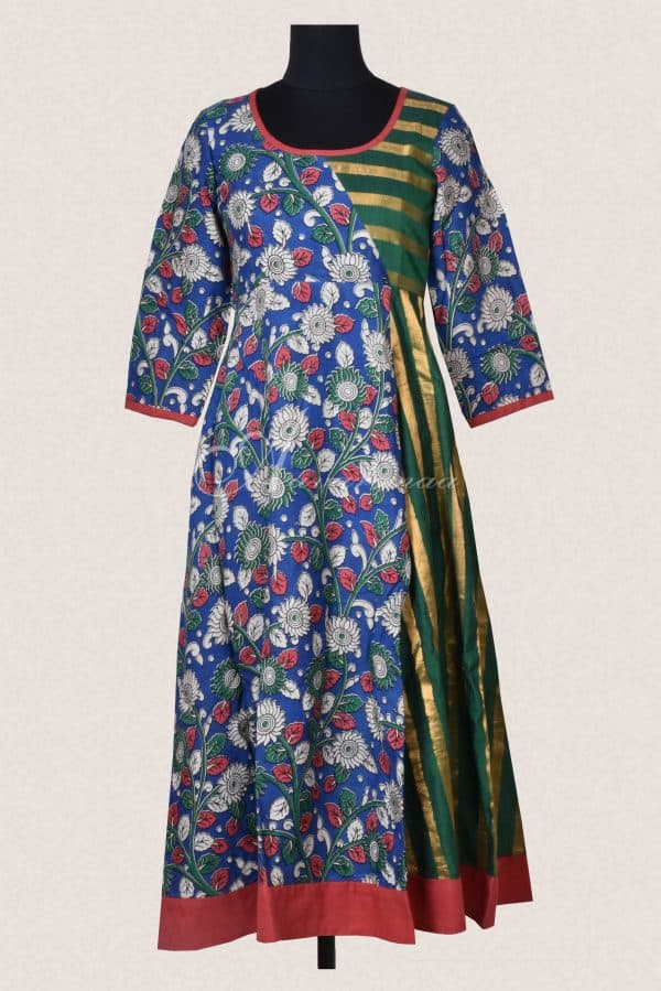 Blue kalamkari silk green stripes flared kurta-0