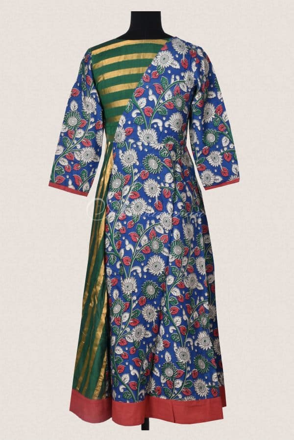 Blue kalamkari silk green stripes flared kurta-15729