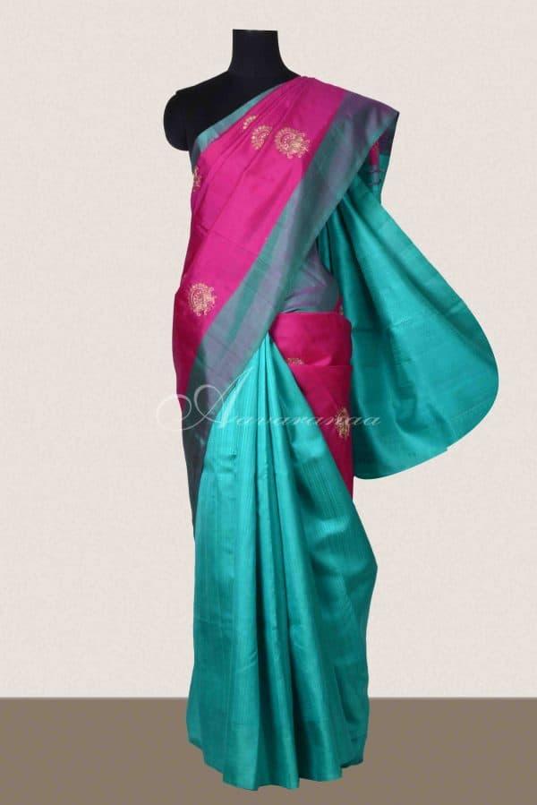 Pink and teal green silk saree-0