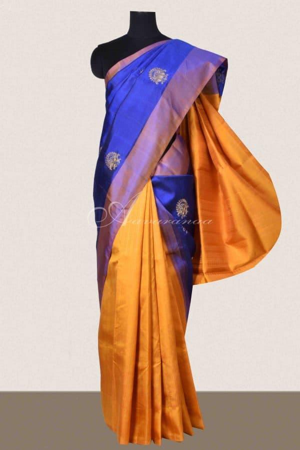 Blue and mustard silk saree-0