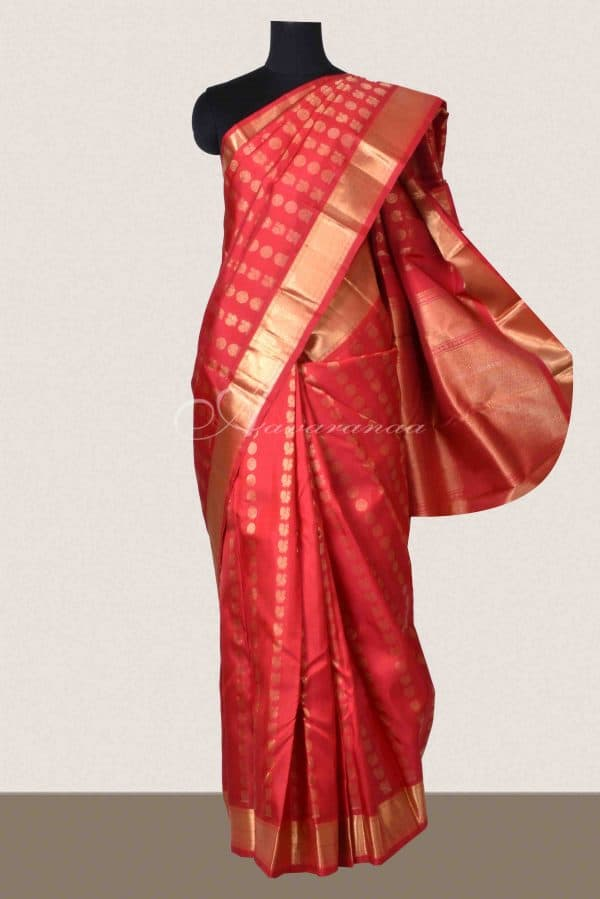 Red Kanchipuram silk saree-0