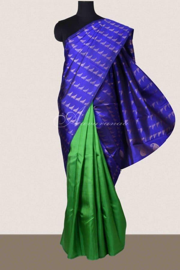 Ms blue and green half and half silk saree-0
