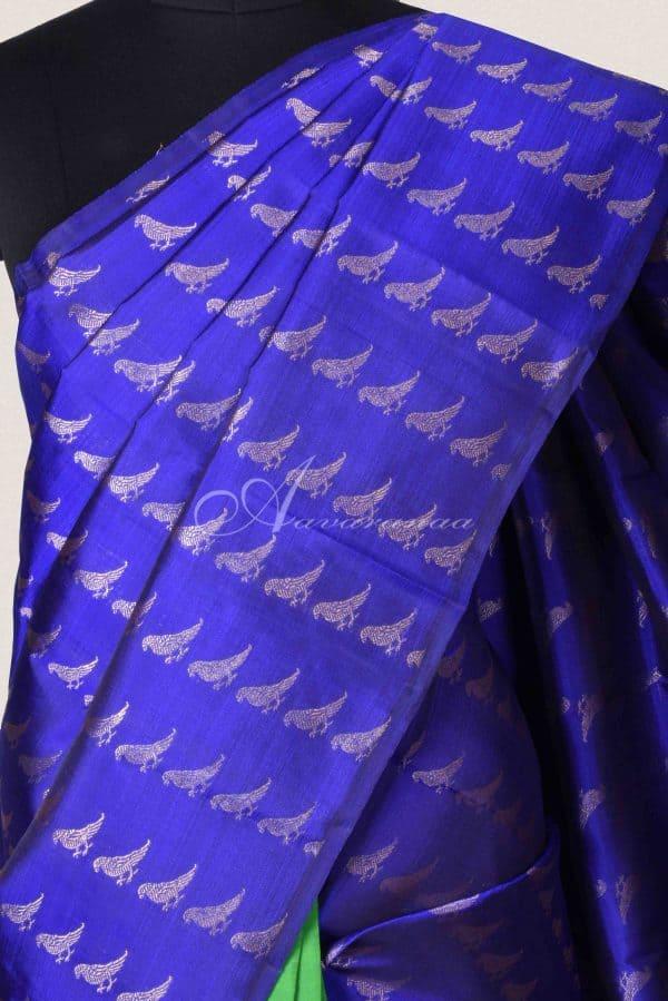Ms blue and green half and half silk saree-15027