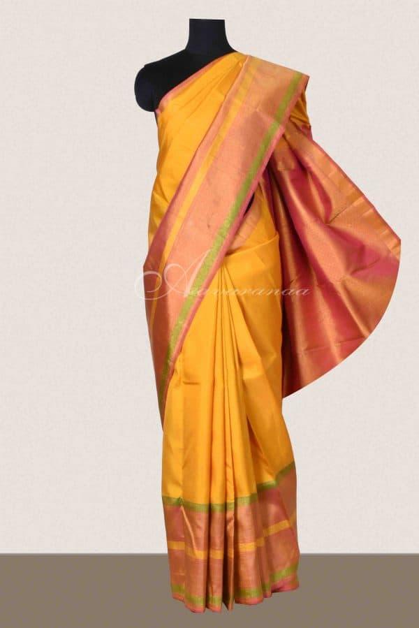 Yellow and pink kanchipuram silk saree-0