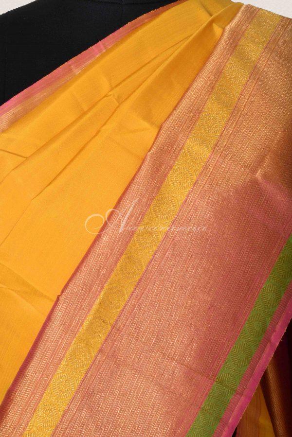 Yellow and pink kanchipuram silk saree-15295