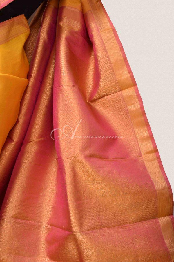 Yellow and pink kanchipuram silk saree-15294