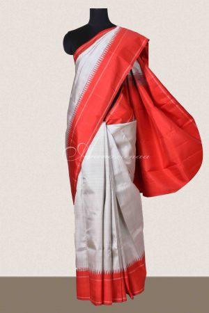 Grey and red kanchipuram silk saree-0