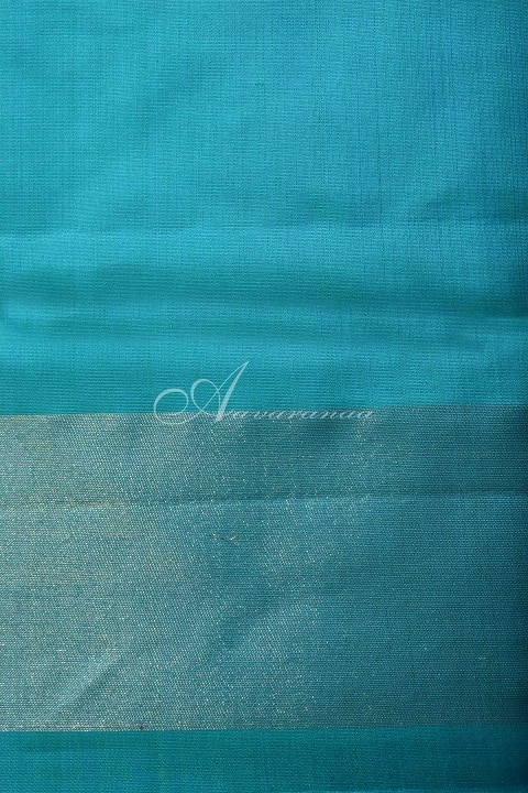 Orange and blue partlu pallu kanchi silk saree-15348