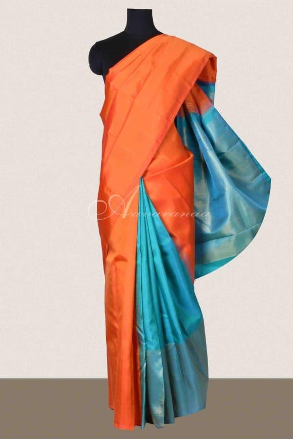 Orange and blue partlu pallu kanchi silk saree-0