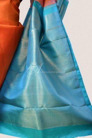 Orange and blue partlu pallu kanchi silk saree-15347