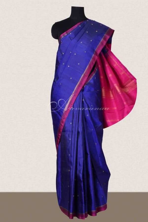 Ms blue and pink kanchipuram silk saree-0