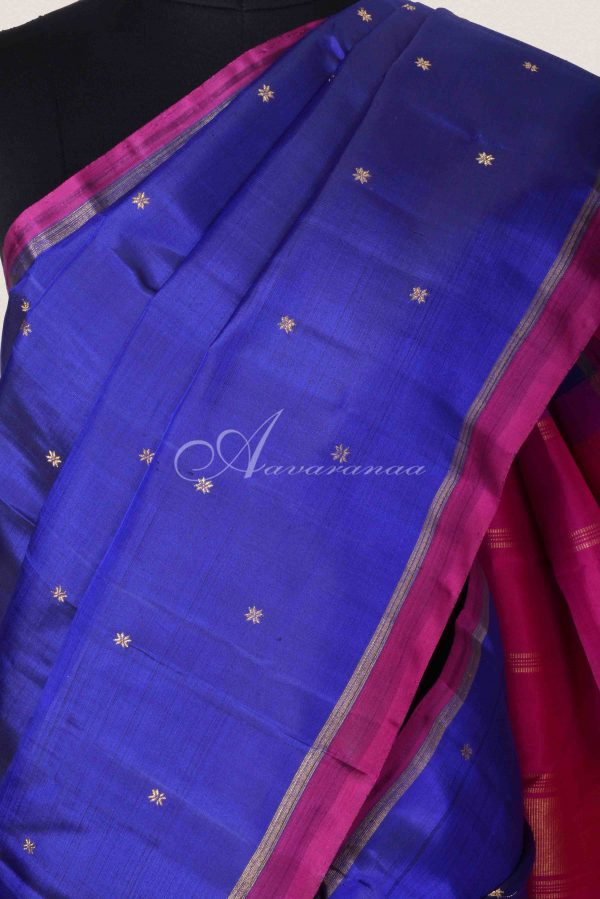 Ms blue and pink kanchipuram silk saree-15339