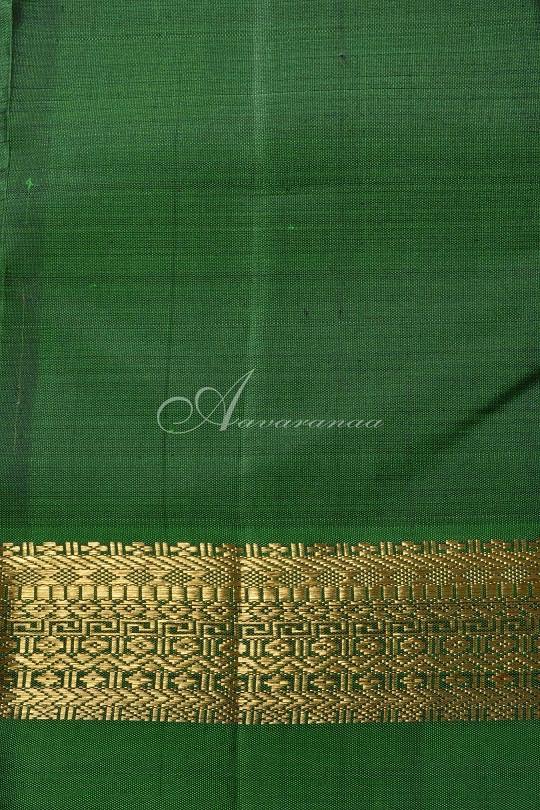 Blue and green long border kanchi silk saree-15309