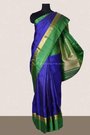 Blue and green long border kanchi silk saree-0