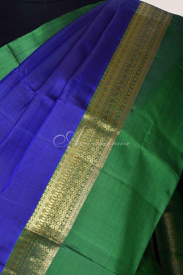 Blue and green long border kanchi silk saree-15311
