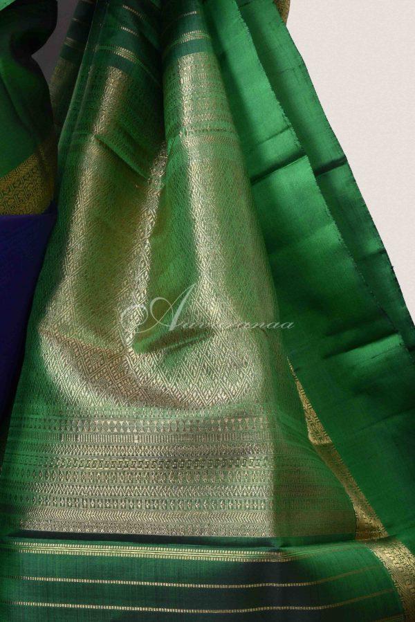 Blue and green long border kanchi silk saree-15312