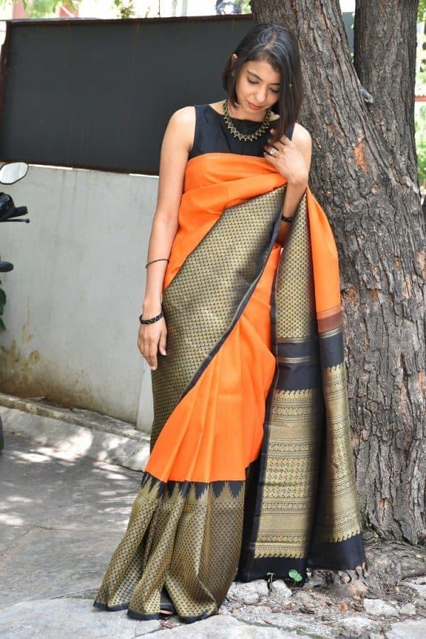 Bright orange kanchi silk with black border-0
