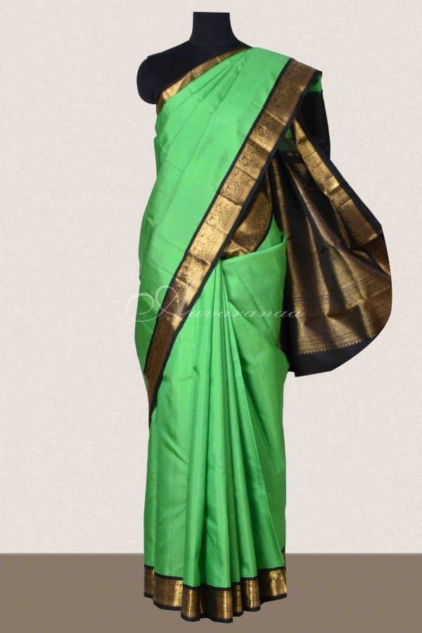 Pista green kanchipuram silk saree-0