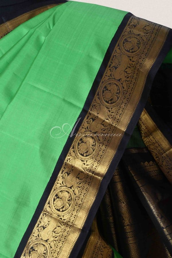 Pista green kanchipuram silk saree-15098