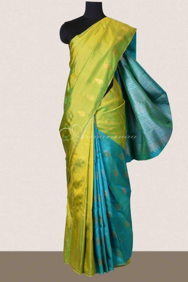 Green and blue partly kachi silk saree-0