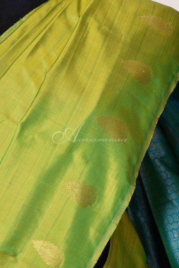 Green and blue partly kachi silk saree-15113