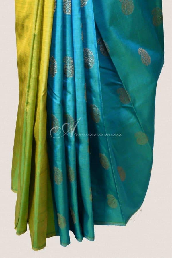Green and blue partly kachi silk saree-15116