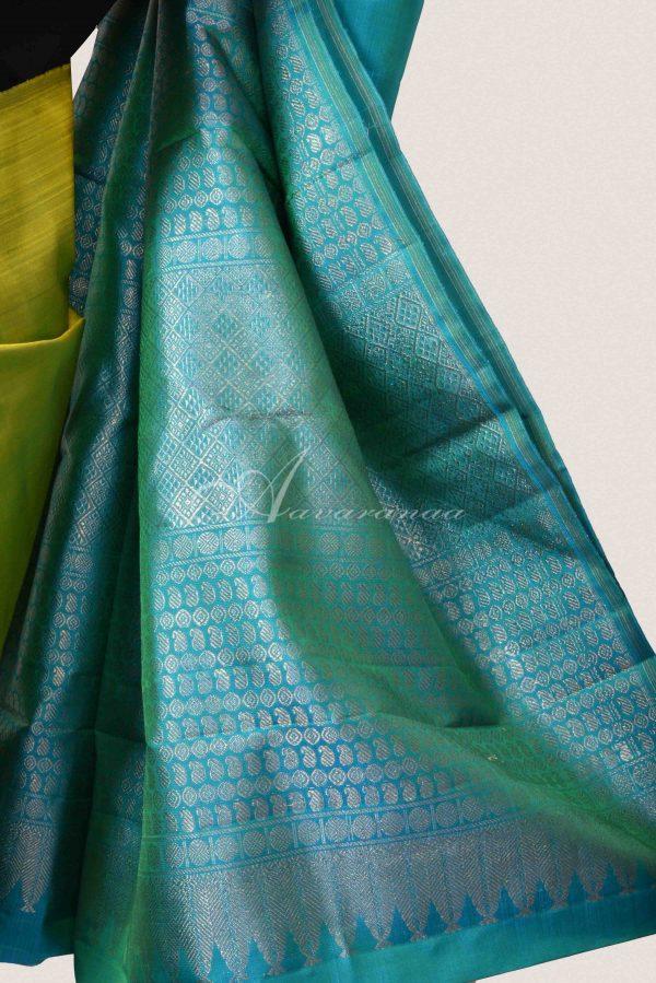 Green and blue partly kachi silk saree-15114