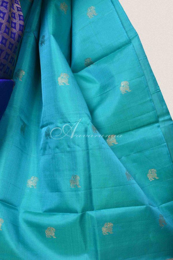 Ms blue and turquoise blue shoulder design saree-15137